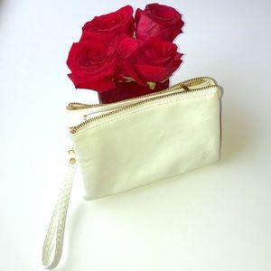2/$16 White Zip Wristlet/Clutch